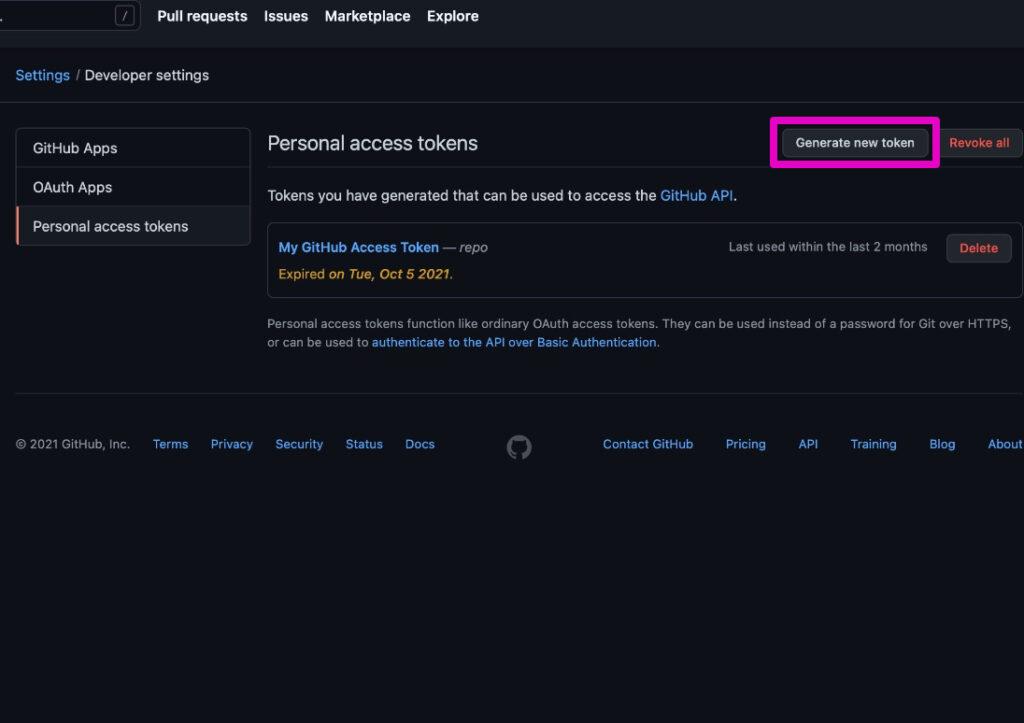 GitHub - Private Access Tokenを作る手順